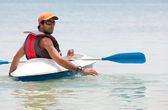 Man in a kayak — Stock Photo