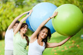 Pilates class outdoors — Stok fotoğraf