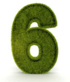 3D One in grass 3D Number six — Stock Photo