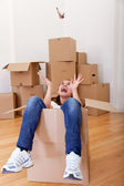 Excited woman moving — Stock Photo