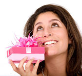 Girl wishing for a good gift — Stock Photo