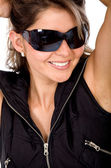 Menina da moda com óculos de sol — Foto Stock