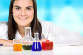 Female with chemistry objects — Stock Photo
