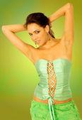 Fashion woman portrait in green — Stock Photo