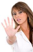 Kvinnan gör hand stoppskylt — Stockfoto