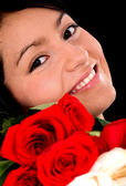Girl with roses — Stock Photo
