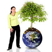 Woman protecting the planet — Stok fotoğraf