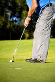 Male golfer about to shot — Stock Photo