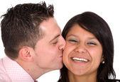 Guy kissing his girlfriend — Stock Photo