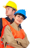 Couple of construction workers — Stock Photo