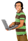 Casual man with a laptop — Stock Photo