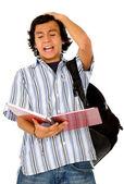 Enojado estudiante masculino — Foto de Stock
