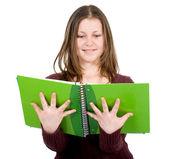Studentka s notebooky — Stock fotografie