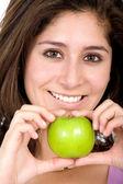 Apple girl in green — Stock Photo
