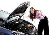 Woman car breakdown — Stock Photo