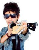 Jogador da guitarra elétrica — Fotografia Stock