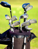 Golf clubs in a bag — Stok fotoğraf