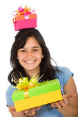 Casual girl full of gifts — Stock Photo