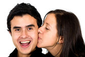 Freund erhalten einen kuss — Stockfoto