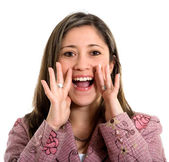 Beautiful girl shouting out loud — Stock Photo