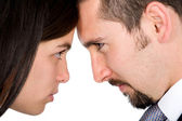 Angry couple facing each other — Stock Photo