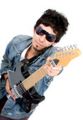 Casual guy with an electric guitar — Stock Photo