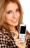 Girl showing her phone — Stock Photo
