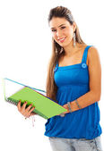 Casual girl smiling with a notebook — Stock Photo