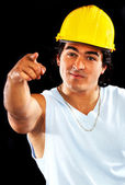 Male builder pointing — Stock Photo