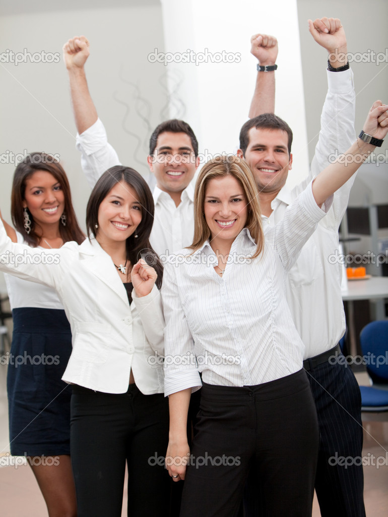 Group of business with arms up at the office — Stock Photo #7770177