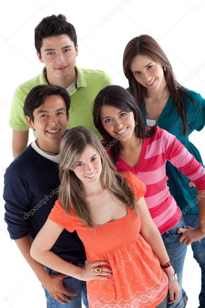 Happy group of young - isolated over a white background — Stock Photo #7770539