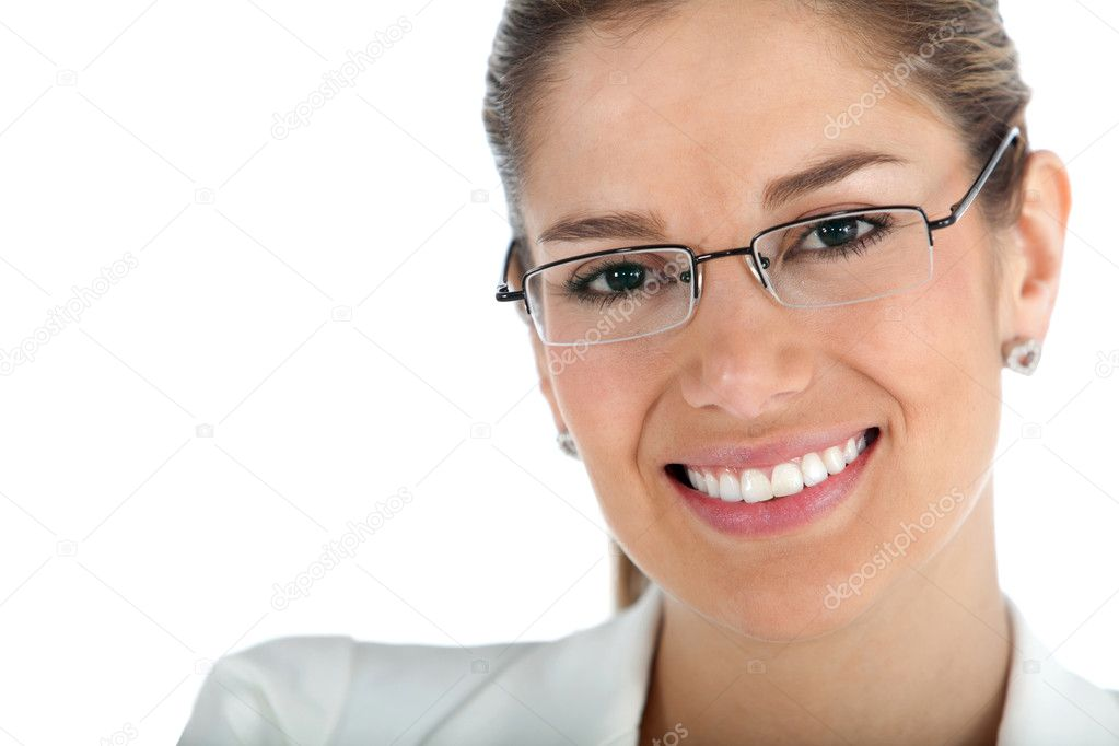 Beautiful business woman wearing glasses - isolated over a white background — Stock Photo #7770859