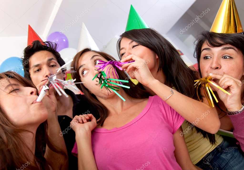 Group of at a birthday party having fun — Stock Photo #7770897