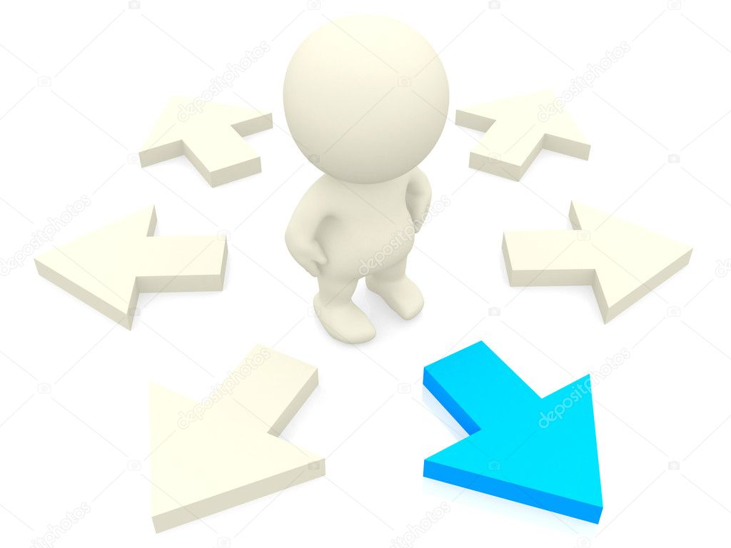3D person making the right choice isolated over a white background — Lizenzfreies Foto #7771102