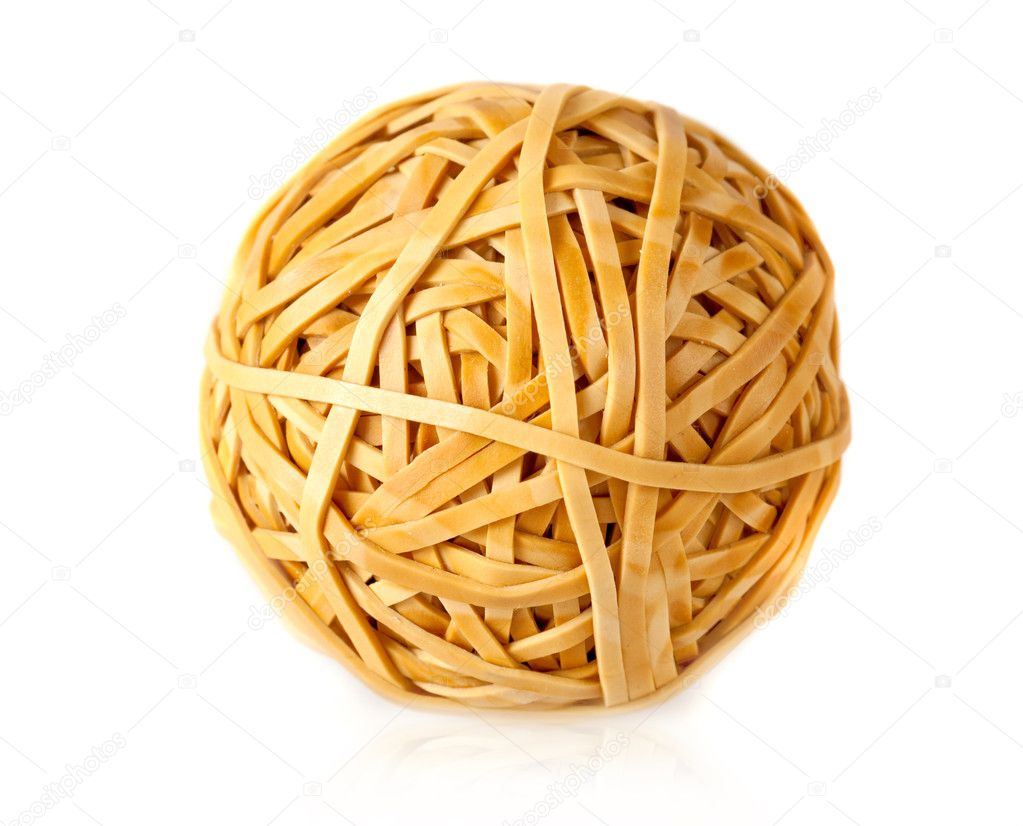 Ball of rubber bands isolated over a white background — Stock Photo #7771188