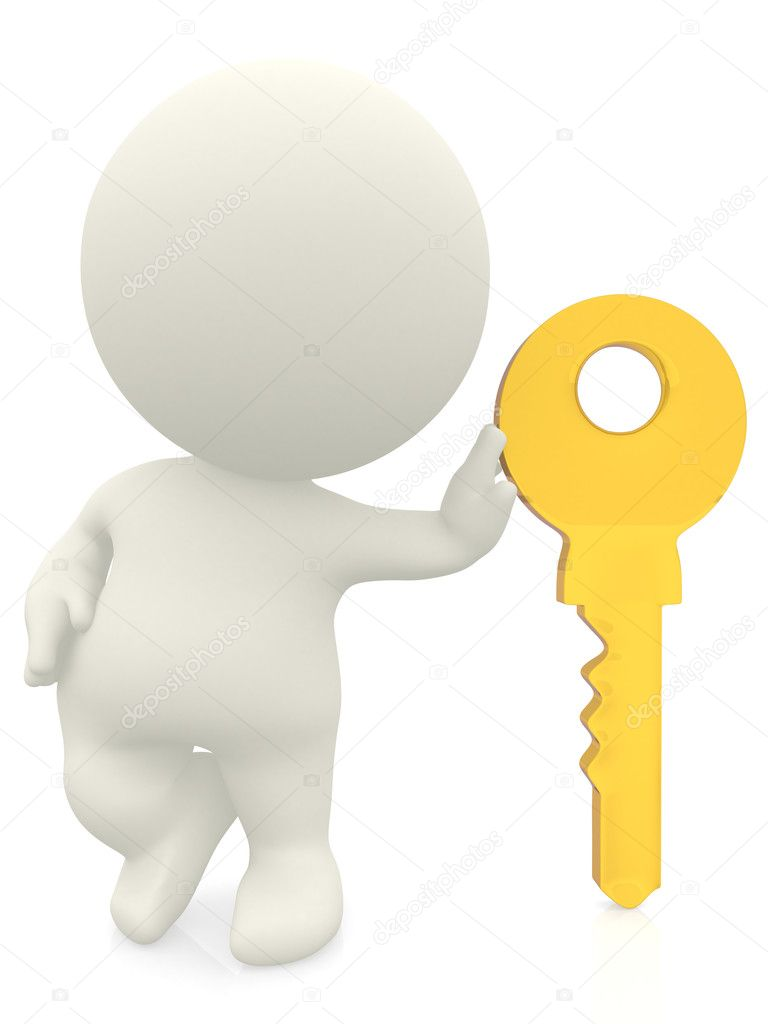 3D character leaning on a key isolated over a white background — Stock Photo #7771219