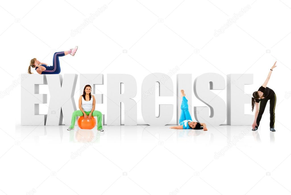 Fit women areound the word Exercise in 3D - isolated over a white background — Stock Photo #7771391