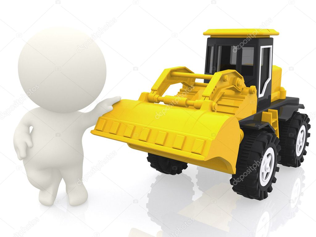 3D guy with a bulldozer - isolated over a white background — Zdjęcie stockowe #7771626