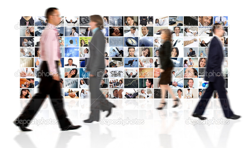 Business walking by a corporate collage - isolated over a white background  Stock Photo #7771723