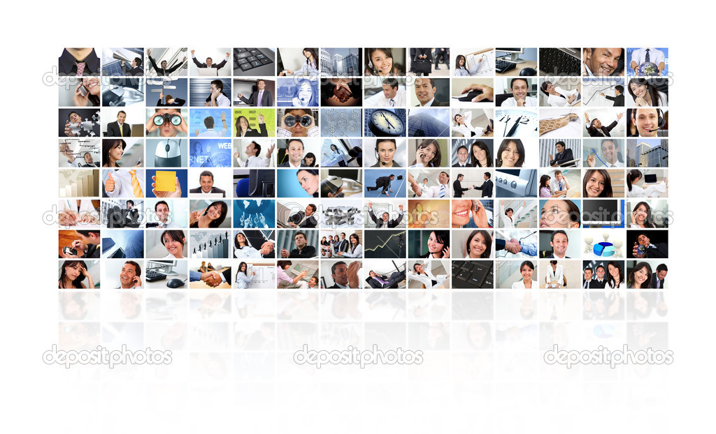 Collage of business pictures making a pattern - isolated over a white background — Stock Photo #7771802