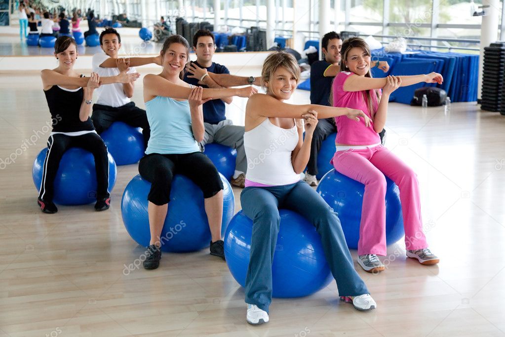 Group of in a pilates class at the gym  Stock Photo #7772267