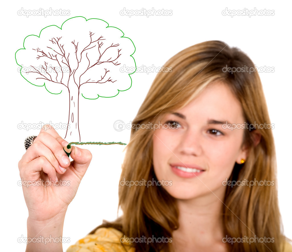 Female ecologist drawing a tree on screen over a white background — Stock Photo #7772962