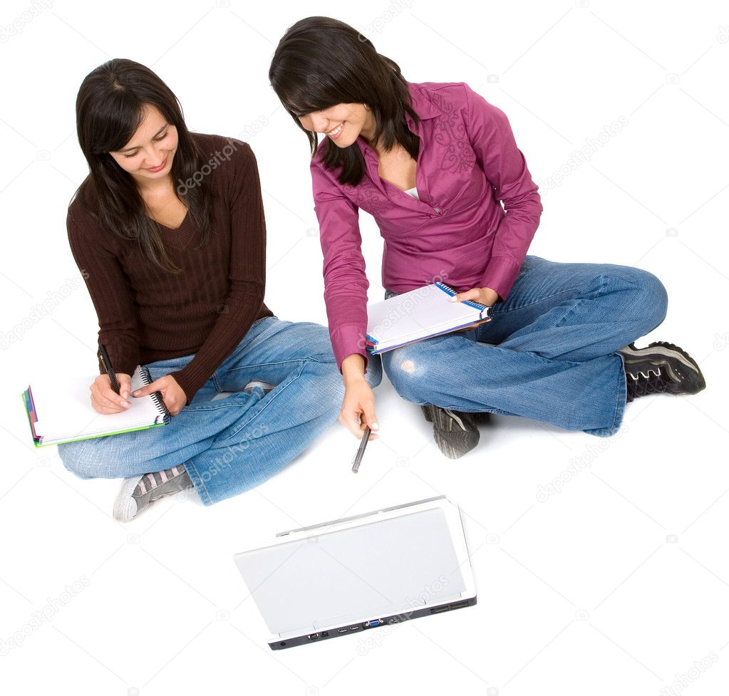 Female students isolated over a white background — Stock Photo #7773556