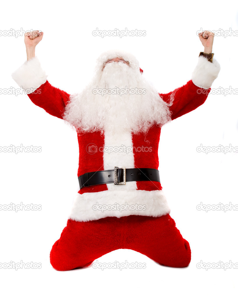 Father christmas celebrating isolated over a white background — Stock Photo #7773691