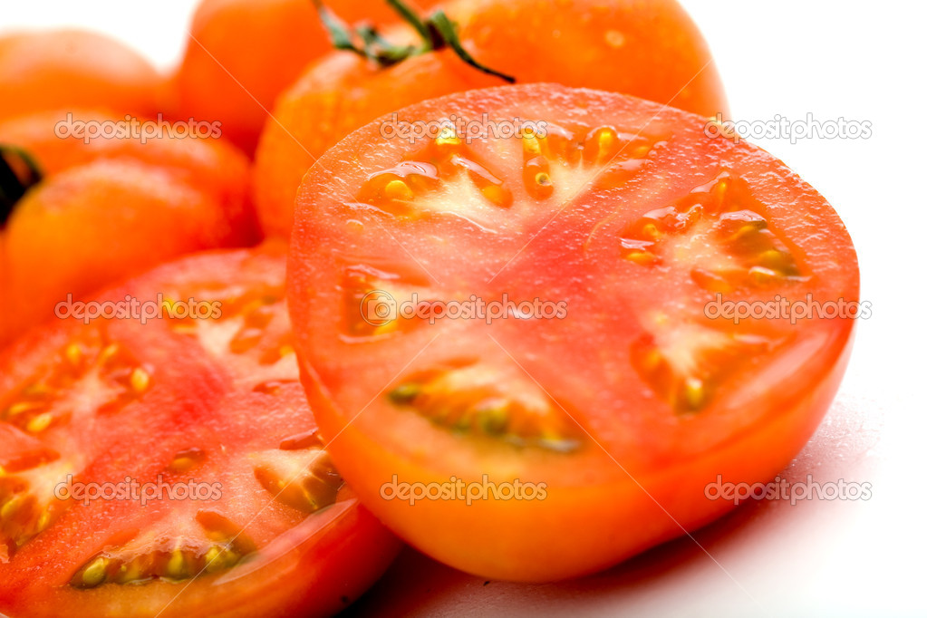 Fresh red tomatoes isolated over a white background — Stock Photo #7773852