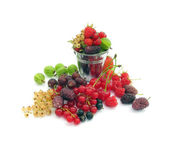 Many different berries are in a bucket — Stock Photo
