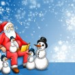 Stock Photo: Xmas Fairy-tale with SantClaus and Snowman