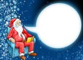 Santa claus and cartoon moon cloud — Stock Photo