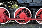 Old locomotive red wheels — Zdjęcie stockowe