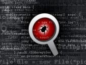 Virus bug in program code — Stock Photo